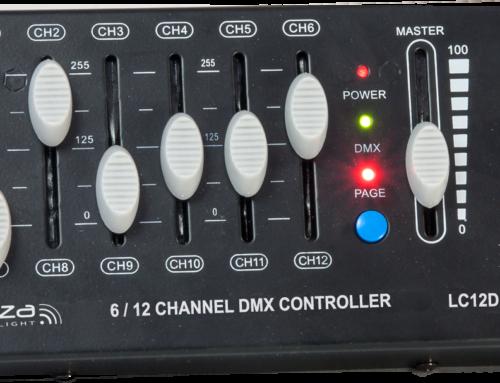 LC12DMX IBIZA, DMX kontroler kompaktne veličine za 12 DMX kanala podijeljenih na 2 stranice od 6 kanala svaka. Izlaz preko 3-pinskog XLR konektora